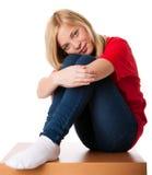 感觉女孩孤独的少年 免版税图库摄影