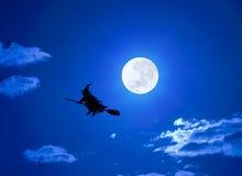 帚柄飞行万圣节巫婆 免版税库存图片