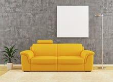 在坏的墙壁内部装饰业的现代黄色沙发 免版税库存照片