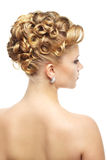 现代婚礼发型。 在白色 库存图片