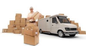 работник доставляющее покупки на дом Стоковые Изображения RF