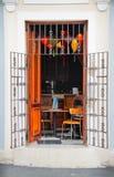 在露天的咖啡馆加勒比胡安老圣 免版税图库摄影
