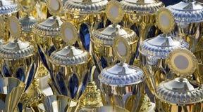 背景冠军杯做许多战利品 免版税库存图片