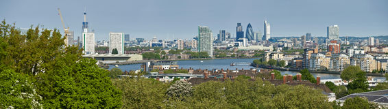 城市格林威治伦敦全景 免版税库存图片