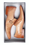 配件箱褐色查出的男性对穿上鞋子白&# 图库摄影