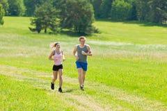 夫妇跑步的草甸嬉戏夏天晴朗的年轻&# 免版税库存图片