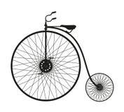 自行车老剪影 免版税图库摄影