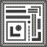 边界角落框架系带无缝的装饰图案 免版税库存图片