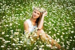美丽的春黄菊域女孩年轻人 免版税库存照片