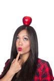 ασιατική γυναίκα μήλων Στοκ Εικόνες
