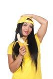 ασιατική μπανάνα που τρώει & Στοκ φωτογραφία με δικαίωμα ελεύθερης χρήσης