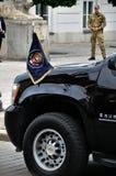 运输美国总统的总统汽车队 免版税库存照片