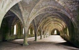 руины фонтанов аббатства вольтижировали Стоковая Фотография