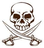 克服的海盗头骨剑符号 免版税库存图片