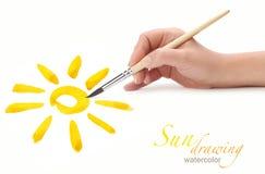 ήλιος χεριών σχεδίων Στοκ εικόνα με δικαίωμα ελεύθερης χρήσης