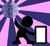 Ретро иллюстрация ПК таблетки танцы шарика диско Стоковые Фото