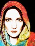 被洗染的围巾关系佩带的妇女 免版税图库摄影