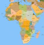 Африка детализировала вектор карты Стоковая Фотография RF