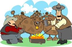 烙记的牛 免版税库存照片