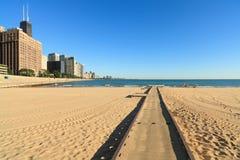 海滩芝加哥密执安湖 库存照片
