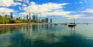 湖岸芝加哥街市线索 免版税库存照片