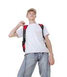 突出男孩偶然准备的学校少年 免版税库存图片