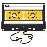 音频黑色卡式磁带 免版税库存照片