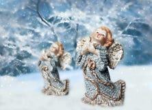 二个圣诞节天使 免版税图库摄影