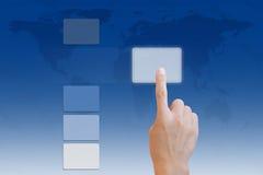 ώθηση χεριών κουμπιών Στοκ φωτογραφία με δικαίωμα ελεύθερης χρήσης