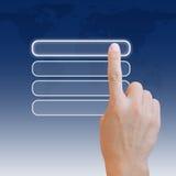 ώθηση χεριών κουμπιών Στοκ Εικόνες