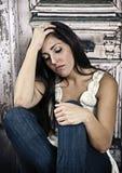 沮丧的妇女 免版税库存图片