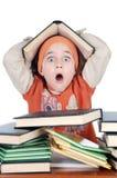 可爱女孩学习 免版税库存照片