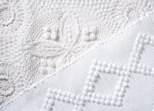 棉花手编织品生气织品宏指令纹理 免版税库存照片