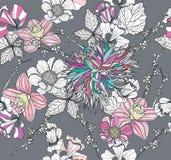 картина цветков предпосылки флористическая безшовная Стоковое Изображение RF