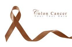 棕色癌症冒号丝带符号 免版税库存照片