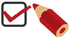 красный цвет вопросника проверки коробки Стоковая Фотография