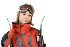 女孩滑雪者微笑 库存图片