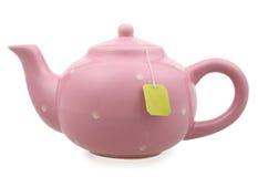 桃红色茶壶 免版税库存照片