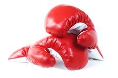 拳击手套用皮革包盖红色 免版税图库摄影