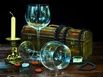 γυαλί δύο κεριών κρασί Στοκ Φωτογραφία