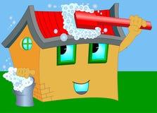 动画片房子洗涤 图库摄影