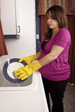 断送怀孕的洗涤的妇女 库存照片