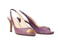 高雅女性穿上鞋子夏天 图库摄影