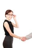 рука трястия женщину Стоковая Фотография