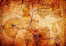 Παλαιός χάρτης θησαυρών Στοκ Εικόνες