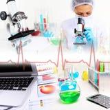 Наука медицины и коллаж дела Стоковая Фотография RF
