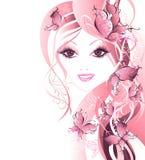 美丽的蝴蝶头发向量妇女 库存照片
