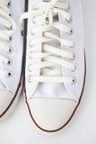 穿上鞋子白色 免版税库存照片