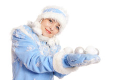 голубой девичий снежок Стоковое Фото