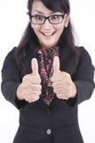 большие пальцы руки коммерсантки счастливые вверх Стоковые Фото